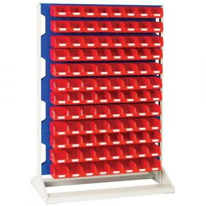 Rack a Bacs fixe H 1450 mm Simple Face + 96 Bacs N°2 rouge,