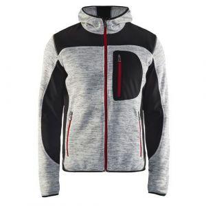 Veste tricotée à capuche Gris chiné/Noir taille XL,