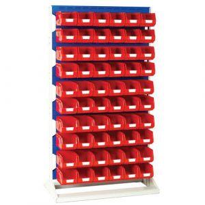 Rack a Bacs fixe H 1450 mm Simple Face + 60 Bacs N°3 rouge,