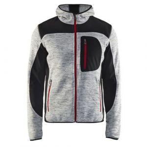 Veste tricotée à capuche Gris chiné/Noir taille XS,