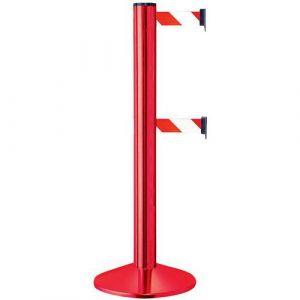 Poteau rouge double sangle Rouge/blanc aluminium,
