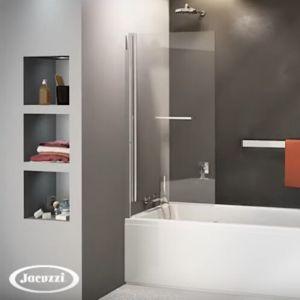 Pare baignoire pivotant et relevable Jacuzzi Epure, 140 x 80, chromé / Argent