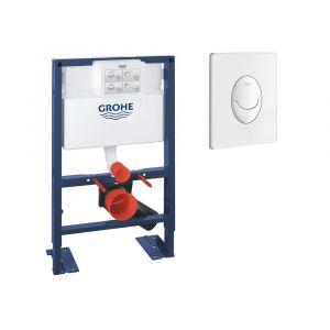 Bati support wc hauteur réduite avec plaque de commande Grohe, plaque commande Skate Air, vertical , chrome