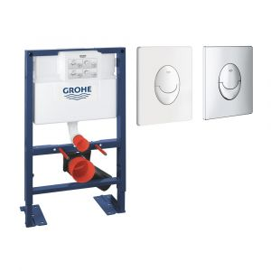 Bati support wc hauteur réduite avec plaque de commande Grohe, plaque commande Skate Air, vertical , blanc alpin