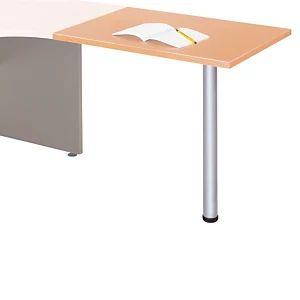 Extension pour bureau Axiome rectangle Hêtre L. 60 x 80 cm, Pied tubulaire Aluminium