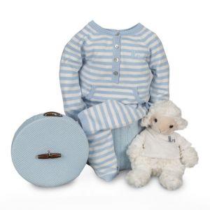 Layette Happy Salopette tricot à rayures bleue