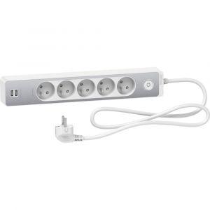 Rallonge Multiprise SCHNEIDER 5 Prises 2P+T Blanche Finition Aluminium Brossé 2 USB 1,5m