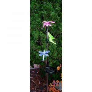 Piquet Extérieur Solaire 3 LED Libellule Papillon Oiseau