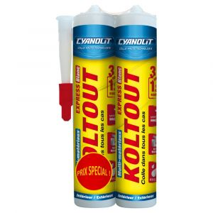 Lot de 2 colle de fixation Cyanolit KOLTOUT blanc