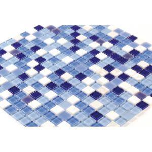 Mosaïque de verre Dégradé bleu et marbre blanc