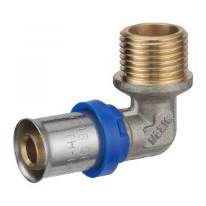 Coude à sertir multiprofil NOYON ET THIEBAULT pour tube multicouche mâle 15x21mm D.16mm