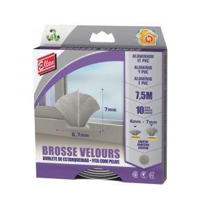 Brosse Velours Gris ELLEN pour Menuiserie Coulissante Aluminium et PVC L.7,5m