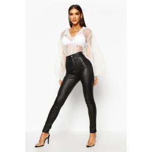 Lara Matte PU Coated Skinny Trousers