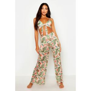 Pantalon de plage motif tropical