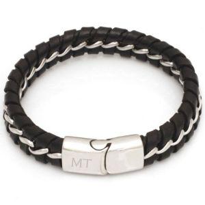 Bracelet cuir noir personnalisé - 1874 - Black