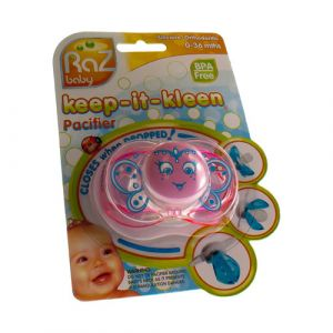 Raz baby keep-it-kleen pacifier sucette rose