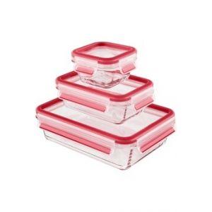 Boîte de rangement Emsa CLIP & CLOSE VERRE lot 3 b. rect 0,2/0,5/1,3 L rouge