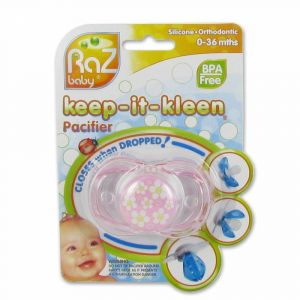 RaZ Baby® Keep-It-Kleen® Pacifier Sucette Pink Flower and Hearts (Couleur non sélectionnable)