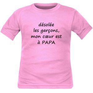 T-shirt enfant humour : mon coeur est à PAPA - Rose 8 ans Courtes