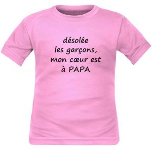 T-shirt enfant humour : mon coeur est à PAPA - Rose 10 ans Courtes