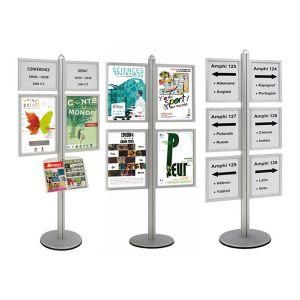 Info-Displays® double-face 2 x A3 + 2 x A2 + 1 étagère sur pied