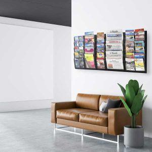 Présentoir mural Black-Line® noir A5 - 6 cases