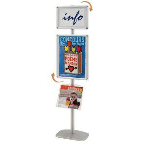 Porte-affiches Cadro-Clic® A3 + A2 + 1 étagère sur pied H 203 cm