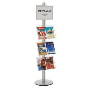 Présentoir Visual-Displays® avec 1 cadre A3 et 3 étagères
