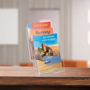 Porte-brochures Comptoir Taymar® 4 cases A4 Paysage en escalier