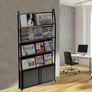 Présentoir Black-Line® 2000 simple-face avec étagères inclinées et coffre