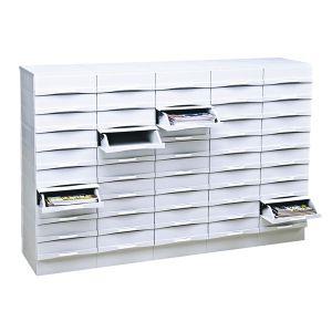 Comptoir classement 50 boîtiers tiroirs + 5 bases/tablettes Burobox
