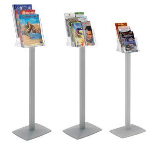 Porte brochure plexi-cristal sur pied 3 cases A5