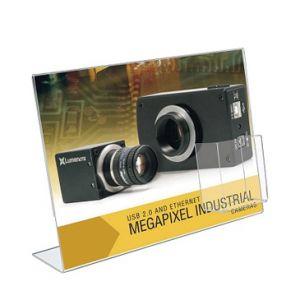 Porte-visuel incliné avec porte-brochure plexi sens paysage