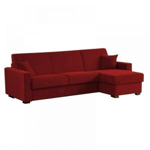 Canapé d'Angle RAPIDO DREAMER Convertible lit 160*197 *16  en Microfibres Bordeaux matelas 16 cm