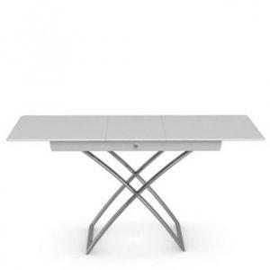Table basse relevable extensible italienne MAGIC J Glass en verre extra-blanc
