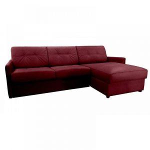 Canapé d'angle réversible RAPIDO CUBE DELUXE 160cm + coffre. Cuir vachette bordeaux. matelas 16 cm