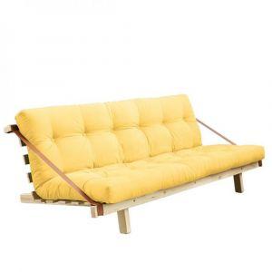 Banquette futon KRISTEN en pin massif coloris jaune couchage 130 cm.