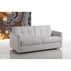 Canapé lit CUBE RAPIDO convertible 120* 197*16cm, cuir vachette blanc, matelas 16 cm