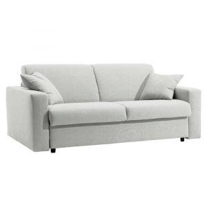 Canapé lit DREAMER RAPIDO sommier lattes 140cm matelas 16cm  cuir vachette blanc cassé