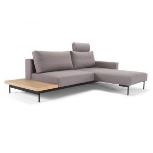 Canapé design d'angle BRAGI Flashtex Light Grey convertible lit 200*140 cm têtière amovible et tablette intégrées