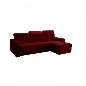 Canapé d'angle réversible RAPIDO SIDNEY DELUXE 120 cm cuir vachette bordeaux têtières réglables matelas 16 cm