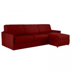 Canapé d'angle SUN convertible RAPIDO 120cm microfibre bordeaux  matelas épaisseur 16cm