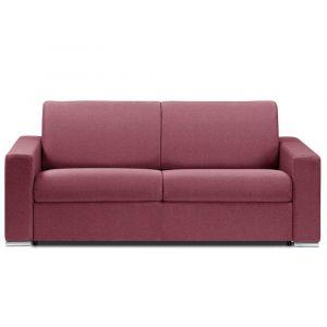 Canapé lit DREAMER RAPIDO sommier lattes 140cm matelas 16cm  tissu tweed rouge