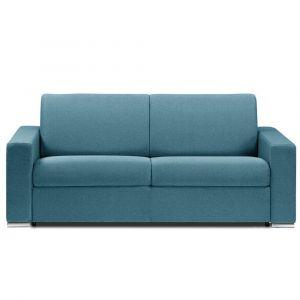 Canapé lit DREAMER RAPIDO sommier lattes 140cm matelas 16cm  tissu tweed turquoise