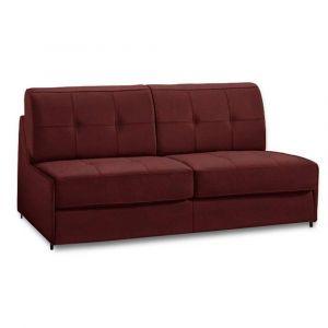 Canapé lit compact 2-3 places DENSO RAPID RAPIDO 120cm microfibre bordeaux matelas 18 cm