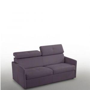 Canapé 3-4 places PARIS 160cm COUCHAGE RAPIDO Tweed purple matelas 16 cm