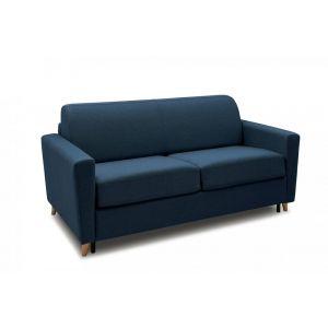 Canapé VIRGOLA convertible rapido matelas 16 cm sommier métallique 140 cm tissu tweed bleu