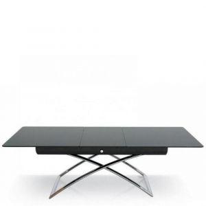 Table basse relevable extensible italienne MAGIC J Glass  en verre noir et piétement en acier chromé