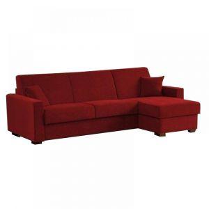 Canapé d'angle RAPIDO 140cm DREAMER microfibre bordeaux matelas 16 cm  et coffre