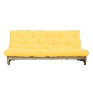 Banquette convertible futon FOLKER bois naturel coloris jaune couchage 140*200 cm.